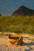 Armchair on the beach Stock Photos