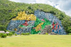 paintings at the prehistory mural in vinales , cuba - stock photo