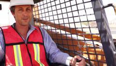 Industrial Male Worker On Skidsteer Stock Footage