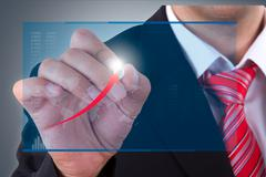Stock Illustration of businessman with digital screen