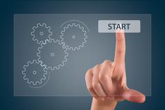 Stock Illustration of finger touching start button