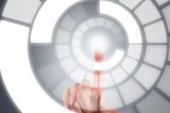 Stock Illustration of hand finger on digital screen