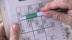 Playing Sudoku Game Close Up Stock Footage
