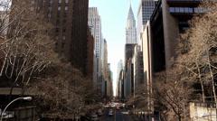 New York City: 42nd Street / Chrysler Building, camera tilt down Stock Footage
