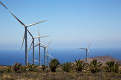 Turbines and the sky in the isle Stock Photos
