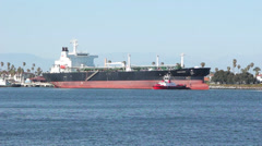 Oil Tanker At Port of Los Angeles Stock Footage