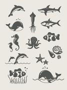 Ocean ja meri kaloja Piirros