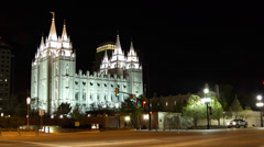 Mormon temple night timelapse - stock footage