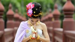 Thai Woman Salute Of Respect In Traditional Costume Of Thailand Stock Footage