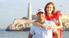 Cuban couple inviting to Cuba Stock Footage