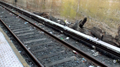 Trash on the rails of NYC subway. Stock Footage