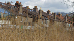 old houses roof with chimneys - stock footage