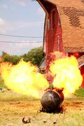 Fuel Tank on Fire - stock photo