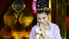 Thai Woman Salute Of Respect In Traditional Costume Of Thailand - stock footage