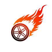 red and orange burning car wheel - stock illustration