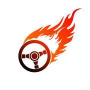 Stock Illustration of symbol burning automobile steering