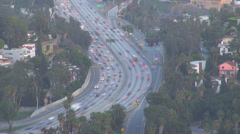 Timelapse time lapse Aerial view busy jam freeway highway people passing LA USA Stock Footage