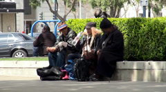 Poor people at the San Francisco street. Stock Footage