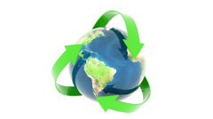 Green recycling earth isolated on white background 1920x1080 Stock Footage