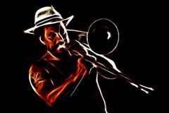 Trombone player Stock Illustration