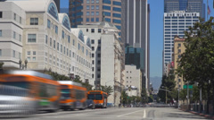 Timelapse business tower traffic car street avenue bus school Los Angeles USA LA - stock footage