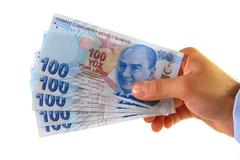 Business man holding turkish lira Stock Photos