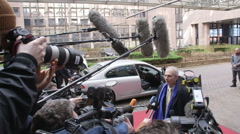The press at the EU summit 2 - stock footage