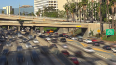 Timelapse freeway highway Los Angeles cityscape downtown elevated road street US Stock Footage