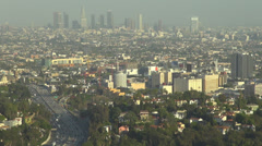 Los Angeles LA panorama freeway busy traffic car residential house traveler USA Stock Footage