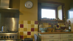 Country cottage kitchen, side dolly Stock Footage