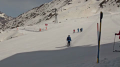 Skier crossing the slope at Ski Paradise Matterhorn Stock Footage