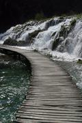 Wooden pathway in Plitvice Lakes national park in Croatia Stock Photos