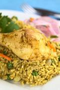 Peruvian dish called arroz con pollo Stock Photos