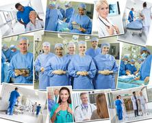 medical montage doctors & nurses hospital - stock photo
