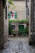 Street in small town Groznjan in Istra, Croatia - stock photo