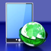 global connected tablet pc - stock illustration