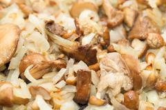 Mushrooms and onions Stock Photos