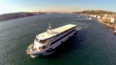 Pleasure boats underway in Bosphorus Stock Footage