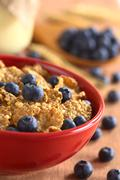 wholewheat flakes with fresh blueberries - stock photo