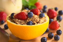 wholewheat cereal with fresh fruits - stock photo