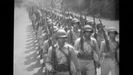 Soldiers marching on the street Stock Footage