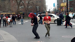 Strange man in underpants and his friends are dancing at Union Square Stock Footage