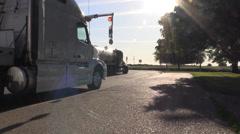 Big rig semi trucks, interstate 5, tanker fuel Stock Footage