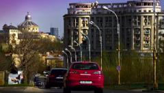 Time lapse: downtown Bucharest with Orthodox Metropolis Stock Footage