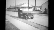 Military land vehicle parked on street Stock Footage