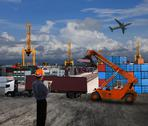 Stock Illustration of officer man working in land transport logistic with container dock scene use