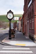 main street small town usa waitsburg washington eastern state farmland - stock photo