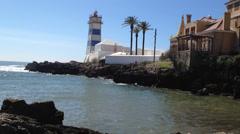 Santa marta lighthouse in cascais, lisbon, portugal. Stock Footage
