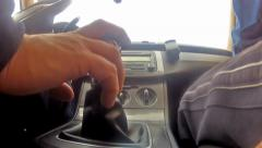 Clip shot from new cars interior with driver  shifting gears Stock Footage