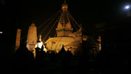 Stock Video Footage of HD: Swayambhunath Temple or the Monkey Temple against the dark night sky.